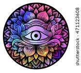 third eye with floral mandala... | Shutterstock .eps vector #471123608