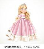little blond princess girl in... | Shutterstock .eps vector #471137648