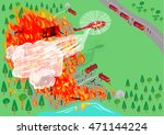 wildfire being put out by... | Shutterstock .eps vector #471144224