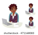 confident business woman with... | Shutterstock .eps vector #471168083