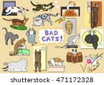 bad cats set | Shutterstock .eps vector #471172328