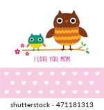cute owl i love you mom... | Shutterstock .eps vector #471181313