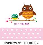 cute owl i love you mom... | Shutterstock .eps vector #471181313