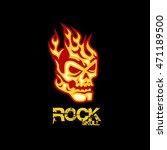 rock skull flaming logo | Shutterstock .eps vector #471189500