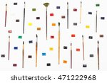 top view of paint brushes and... | Shutterstock . vector #471222968