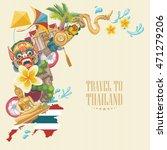 travel thailand landmarks. thai ... | Shutterstock .eps vector #471279206