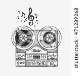 hand drawn vintage reel to reel ... | Shutterstock .eps vector #471289268