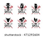 grill labels  badges  stickers  ... | Shutterstock .eps vector #471292604