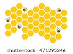 Bee And Honey Cells Isolated O...