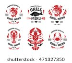 seafood grill and steak labels  ... | Shutterstock .eps vector #471327350
