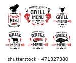 grill and steak menu labels ... | Shutterstock .eps vector #471327380