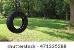 Tree Tire Swing Wooded Yard...