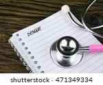 stethoscope and notebook with... | Shutterstock . vector #471349334