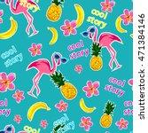 flamingo  pineapple vector... | Shutterstock .eps vector #471384146