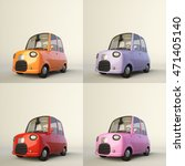 Cute Cartoon Stylized Car In...