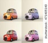 Cute Cartoon Stylized Car In...