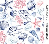 seamless pattern with seashells ... | Shutterstock . vector #471419399