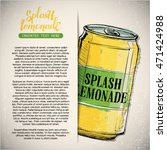 hand draw of splash lemonade.... | Shutterstock .eps vector #471424988