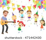 father playing guitar for... | Shutterstock . vector #471442430