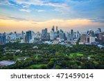 lumpini park and bangkok city...   Shutterstock . vector #471459014