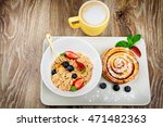 healthy breakfast on wooden... | Shutterstock . vector #471482363