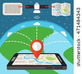 mobile gps navigation map with... | Shutterstock .eps vector #471484343