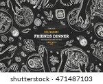 family dinner top view... | Shutterstock .eps vector #471487103