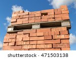 Bricks Stacked On Wooden Pallet