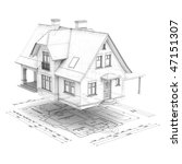 a wireframe house raised above... | Shutterstock . vector #47151307