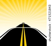 road on the background of sun... | Shutterstock .eps vector #471521843