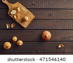 fresh onions on a rustic wooden ... | Shutterstock . vector #471546140