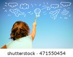 back view of cute kid imagine...   Shutterstock . vector #471550454