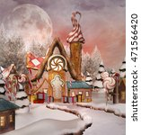 Gingerbread Snowy Village   3d...