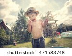Cute Little Boy In Straw Hat I...