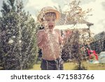 Cute Little Boy In Straw Hat I...