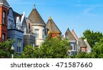 Small photo of washington dc Shaw residential area with victorian houses in multiple colors