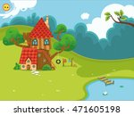 Cartoon House In The Forest. ...