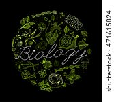 hand drawn biology neon green... | Shutterstock .eps vector #471615824