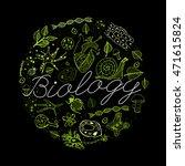 hand drawn biology neon green...   Shutterstock .eps vector #471615824