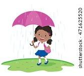 school girl holding umbrella in ... | Shutterstock .eps vector #471625520