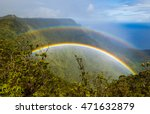 Double rainbow over Kalalau valley, seen from Pihea trail, Kauai, Hawaii. Shoot through a polarizer filter.