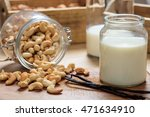 vegan milk from cashews on a... | Shutterstock . vector #471634910