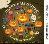 vintage halloween poster design ... | Shutterstock .eps vector #471647039