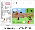 how many cats and maze game   ... | Shutterstock .eps vector #471653918