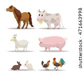 set of farm animals and birds.... | Shutterstock .eps vector #471663998