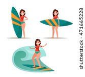 set surfer girl. posing with... | Shutterstock .eps vector #471665228