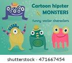 set of funny cartoon monsters.... | Shutterstock .eps vector #471667454