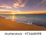 Stock photo colorful ocean beach sunrise 471668498