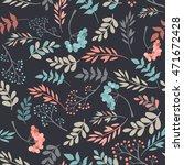floral seamless pattern on dark ... | Shutterstock .eps vector #471672428