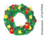 vector. stoke. christmas wreath ... | Shutterstock .eps vector #471679964